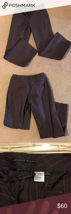 Antonio Melani pants brown Size 12 Excellent condition! Only worn a few times. Brown with pink pinstripes. Great style! ANTONIO MELANI Pants Trousers