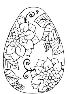 easter coloring pages  Easter Egg with Flower Coloring Page