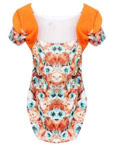 Orange Net Floral Print Side Pleated Short Sleeve T-shirt
