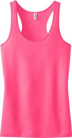 5d78822f70079 District - Ladies Junior Fit 60 40 Racerback Neon Pink Tank Top. DT237