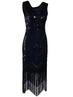 1920's Vintage Gatsby Bead Sequin Art Nouveau Deco Flapper Dress - Sainaluv