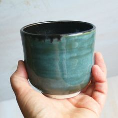 Yunomi Teacup Handmade Stoneware Blue Green and Black Tea Cup Ready to Ship Made in USA Teacup, Stoneware, Blue Green, Cups, Ship, Tableware, Unique Jewelry, Handmade Gifts, How To Make