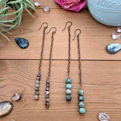 Gemstone Dangle Earrings #beadedjewelry,nativeamericanjewelry,handemadejewelry,handmadenecklace,handmadeearring