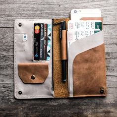 Genuine Leather Wallet Style cases for iPhone Plus, Fits to Smart Phones Passport Holder - Retro Style - Return to original beauty. Passport Wallet, Passport Cover, Purse Wallet, Men Wallet, Wallet For Man, Womens Leather Wallet, Mens Travel Wallet, Leather Purses, Leather Wallets