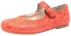 Manuela de Juan Girl's Mimi Red Floral Leather Snap Mary Jane Flat Shoe