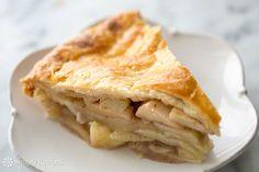Homemade apple pie with a flaky pie crust and sliced apples, sugar, allspice, nutmeg, cinnamon, vanilla and brandy ~ SimplyRecipes.com