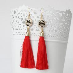 新しいタッセルロングイヤリング女性のためのビジューのファッションジュエリー卸売ローズフラワーラインストーンブラブライヤリングbrincos pendientes