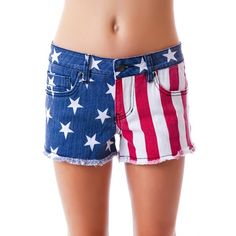 Lip Service Stars and Stripes Dirty Boyfriend Shorts ($21) ❤ liked on Polyvore featuring shorts, american flag pocket shorts, cotton stretch shorts, star shorts, frayed shorts and checked shorts