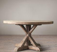 Distressed Elm Belgian Trestle Round Dining Table - Restoration Hardware
