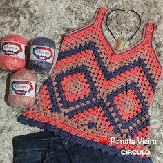 Mais uma vídeo aula bem legal que você encontra no meu canal do YouTube. Link direto aqui no meu perfil . . . . . . . . . . . .… Moda Crochet, Crochet Granny, Crochet Motif, Knit Crochet, Crochet Patterns, Crochet Summer Tops, Crochet Blouse, Crochet Clothes, Crochet Projects