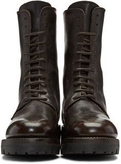 Guidi - Brown Leather Lace-Up Boots