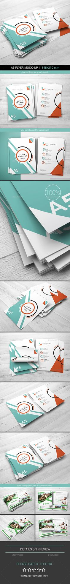 A5 Flyer MockUp — Photoshop PSD #realism #present • Available here → https://graphicriver.net/item/a5-flyer-mockup/17971307?ref=pxcr
