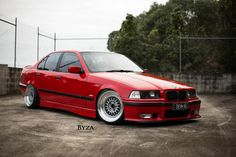 Red BMW e36 sedan pn cult classic BBS RS wheels