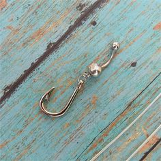 Silver Fish Hook Navel Belly Button Ring