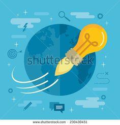 Flat design colorful vector illustration concept for creativity, big idea…