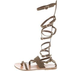 Pre-owned Ancient Greek Sandals Alethea Gladiator Sandals (1.690.375 IDR) ❤ liked on Polyvore featuring shoes, sandals, green, army green shoes, buckle sandals, olive green shoes, stacked heel sandals and suede shoes