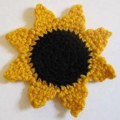 Sunflower Applique http://www.crochetspot.com/crochet-pattern-sunflower-applique/#more-15787