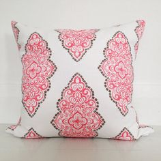 Coral medallion & natural stonewashed linen cushion cover - designer  cushion 50 x 50 cm - FREE SHIPPING Australia wide