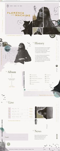 Florence + the Machine Website - collage inspired website design Layout Design, Website Design Layout, Web Layout, Ux Design, Page Design, Branding Design, Design Elements, Personal Website Design, Aesthetic Design
