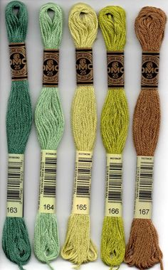 DMC six-stranded embroidery floss 163, 164, 165, 166, 167 lime green and blue green and brown