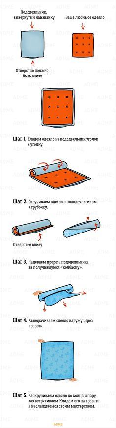 Самый легкий способ заправить одеяло впододеяльник