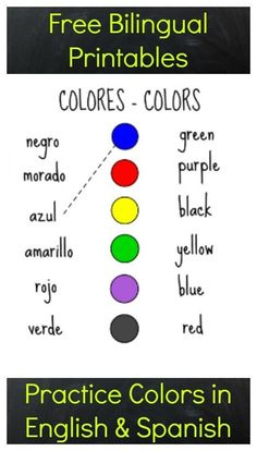 Free printables to practice colors in Spanish