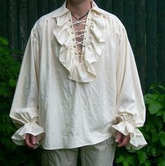 Poets Shirt or Medieval Renaissance Pirate Vampire Mens Womens Custom Made Ruffled Shirt