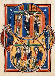 Blanche of Castile. Paris Bible Moralise: Crucifixion and Deposition, 1226-1234 [Bib.Nat.Paris]