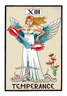 Temperance (Temperance) Tarot by Jamie Hewlett (Gorillaz). Major Arcana Cards, Tarot Major Arcana, Comic Book Artists, Comic Artist, Temperance Tarot Card, Jamie Hewlett Art, Gorillaz Art, Tarot Astrology, Tarot Card Decks