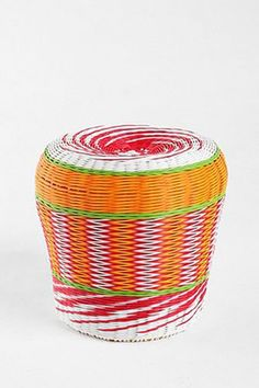 15 Decor Finds To Turn Your Front Porch Into An Outdoor Oasis - Urban Outfitters Woven Cable Stool, $129, available at Urban Outfitters.