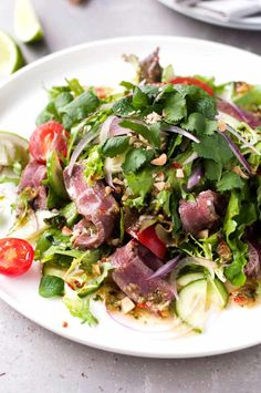 Not just another Thai Beef Salad recipe .This is made with one little change to create a dressing from an award winning Thai restaurant, arguably one of the best in the world outside of Thailand. (PS No trip to the Asian store required! Thai Beef Salad, Thai Salads, Asian Salads, Asian Beef Salad Recipe, Asian Recipes, Beef Recipes, Cooking Recipes, Ethnic Recipes, Protein Recipes