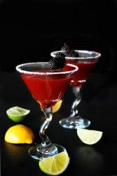 Blackberry and Basil Martini Recipe. I would use real sugar instead of truvia, though.