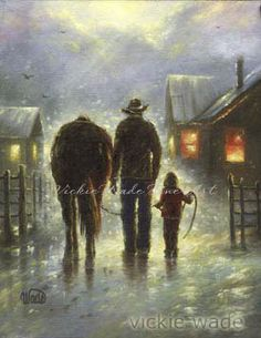 Cowboy and Girl Art Print dad and daughter by VickieWadeFineArt