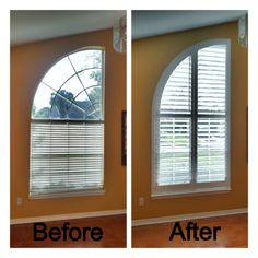 Arched window before (with blinds) and after with plantation shutters. It's now framed out, seamless and complete! | ShadesToYou Design
