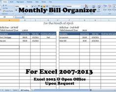 bill management excel template