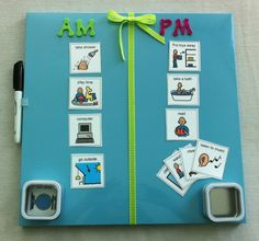 Beautiful visual schedules on MAGNETIC DRY ERASE board!!!! How convenient! Can also be personalized for your child!