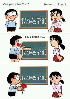 I love you - by Nobita and Shizuka chan (Doraemon) Pick Up Lines Cheesy, Pick Up Lines Funny, Math Pick Up Lines, Nice Pick Up Lines, Cute Pickup Lines, Math Jokes, Math Humor, Doraemon, Humor Nerd