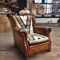 this-old-stomping-ground:  Match made in heaven! Newly refurbished 1930's French chair upholstered with 1930's navajo rug.