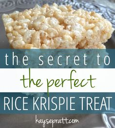 The Secret to the PERFECT Rice Krispie Treat - Anchored Women Quite possibly the best rice krispie treat you'll ever taste. Here's the secret to making the treat you'll become neighborhood-famous for! Rice Krispy Treats Recipe, Recipe Treats, Original Rice Krispies Recipe, Rice Crispy Recipe, Microwave Rice Krispie Treats, Vegan Rice Crispy Treats, Rice Krispie Bars, Rice Recipes For Dinner, Popcorn Recipes
