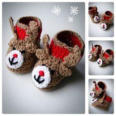 Crochet Reindeer Baby Booties Crochet Shoes Baby от BabesCrochets