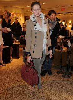 Tan Coat, Olive/Grey Jeans, Maroon Bag