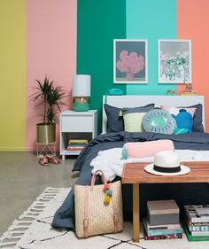 a rainbow striped room