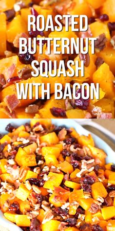 Side Dish Recipes 87538786493200373 - This roasted butternut squash with bacon recipe is a simple Fall side dish, made with 5 ingredients. It's a delicious dish perfect for family gatherings. Sweet Potato Recipes, Bacon Recipes, Vegetable Recipes, Appetizer Recipes, Healthy Recipes, Vegetarian Recipes, Whole30 Recipes, Thai Recipes, Recipes Dinner