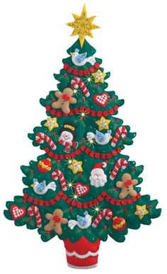 Merry and Bright Christmas Tree Bucilla Wall Hanging Kit Types Of Christmas Trees, Diy Felt Christmas Tree, Christmas Stocking Kits, Handmade Christmas Decorations, Easy Christmas Crafts, Christmas Projects, Homemade Christmas, Xmas Tree, Christmas Stockings