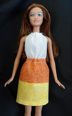 Happier Than A Pig In Mud: Barbie Candy Corn Dress Tutorial-only 5 seams