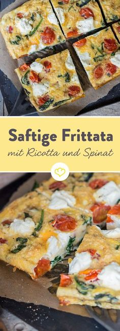 Das Dinner-Omelette: Saftige Frittata mit Ricotta, Tomaten und Spinat The perfect low-carb dinner: This fluffy omelette is not only suitable for breakfast, but also tastes like a quick, light dinner. Juicy frittata with ricotta, tomatoes and spinach Grilling Recipes, Veggie Recipes, Healthy Dinner Recipes, Low Carb Recipes, Vegetarian Recipes, Breakfast Recipes, Vegetarian Cooking, Pizza Recipes, Brunch Recipes