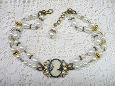 OOAK Vintage Handmade CAMEO Pearl 2 Strand by ElegantiTesori
