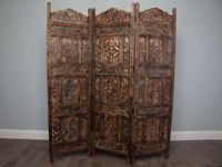 Black Carved Wooden Moroccan Screen- Four Panel : Moroccan Bazaar