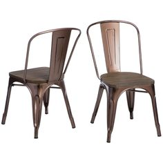 Tabouret Brushed Copper Wood Seat Bistro Chairs (Set of 2)