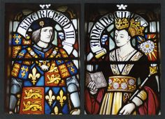 Richard III and his queen, Anne Neville; stained-glass window at Cardiff Castle